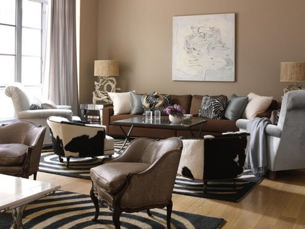 Dark brown furniture and Beige color wall