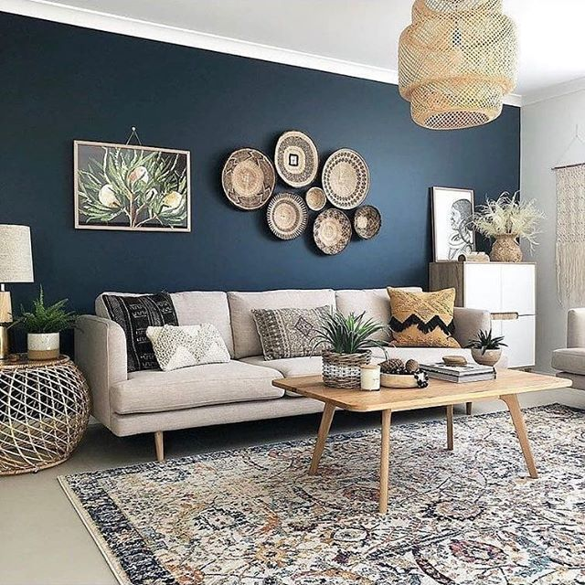 Navy wall and white furniture