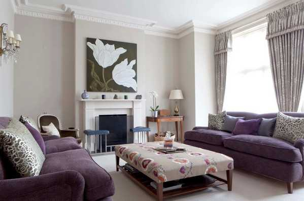 Off white wall color and purple furniture
